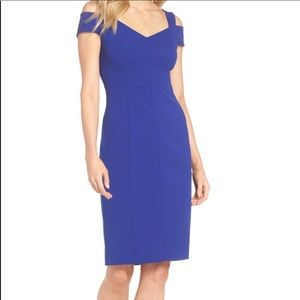 Eliza J Blue Cold Shoulder Sheath Dress Size 16